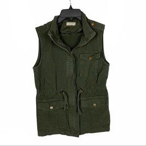 Freebird Olive Green Utility Vest Full Zip Small